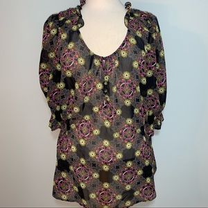 Sheer pattern blouse with ruffle collar